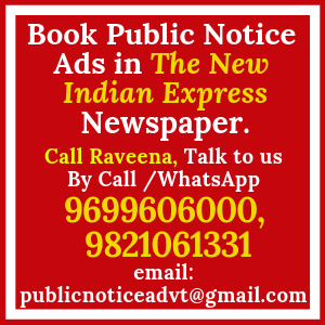 Book Public Notice ads in The New Indian Express Newspaper
