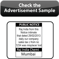 Online Booking of Public Notice Ads in Newspapers/checking Public notice advertisement sample for booking