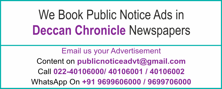 Online Deccan Chronicle Newspaper Lost and Found Ads, Public Legal Tender Notice ads, Share certificate lost, Government Bank Public Notice Updated Year 2016-2017 Deccan Chronicle PUBLIC NOTICE IMAGE NEWSPAPER
