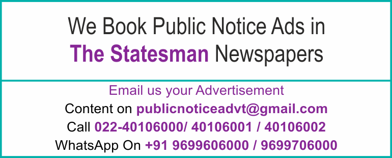 Online The Statesman Newspaper Lost and Found Ads, Public Legal Tender Notice ads, Share certificate lost, Government Bank Public Notice Updated Year 2016 -2017 The Statesman PUBLIC NOTICE IMAGE NEWSPAPER  width=
